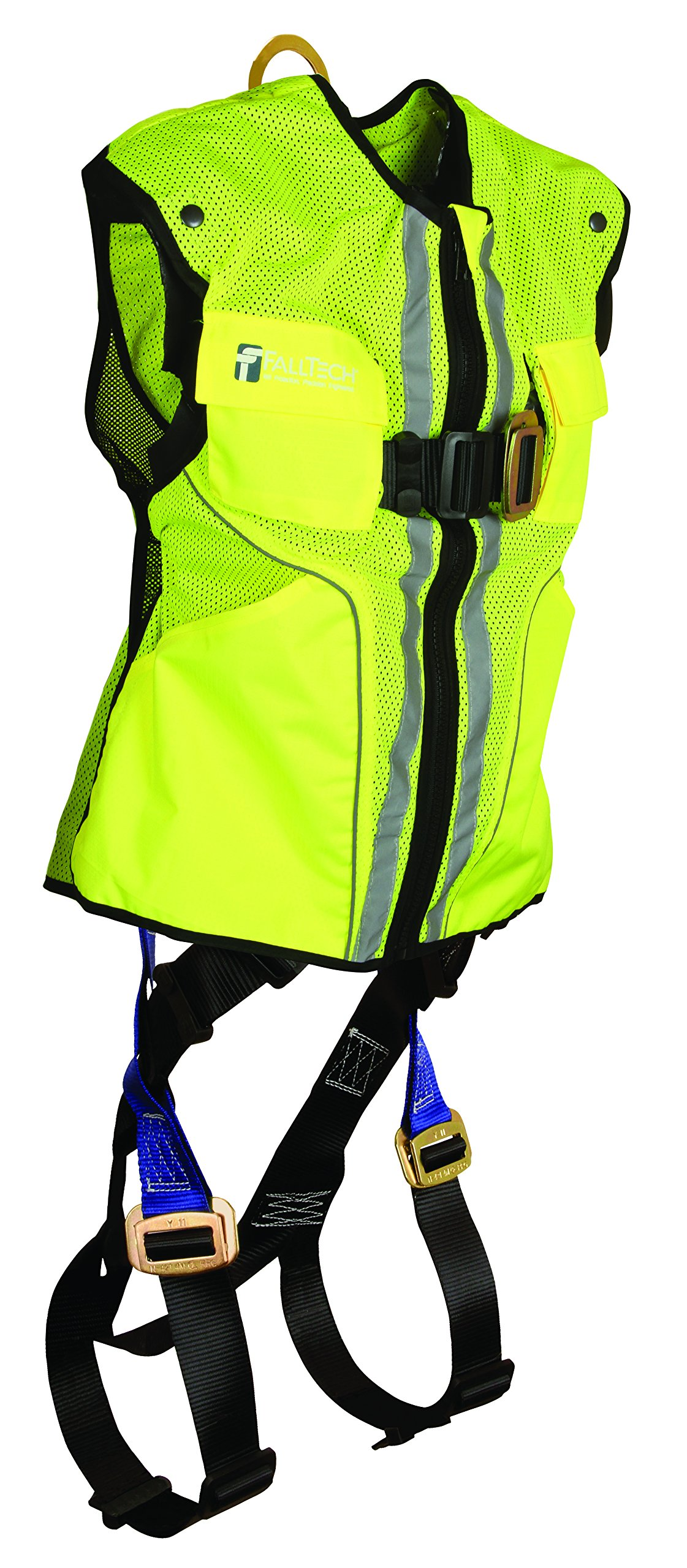 FallTech 7015LXL Hi-Vis Vest Harness, Non-Belted FBH - 1 Back D-Ring, Mating Buckle Legs and Chest, Contractor-Grade Reflective Vest, Lime, Large/X-Large, Lime/Blue by FallTech (Image #1)