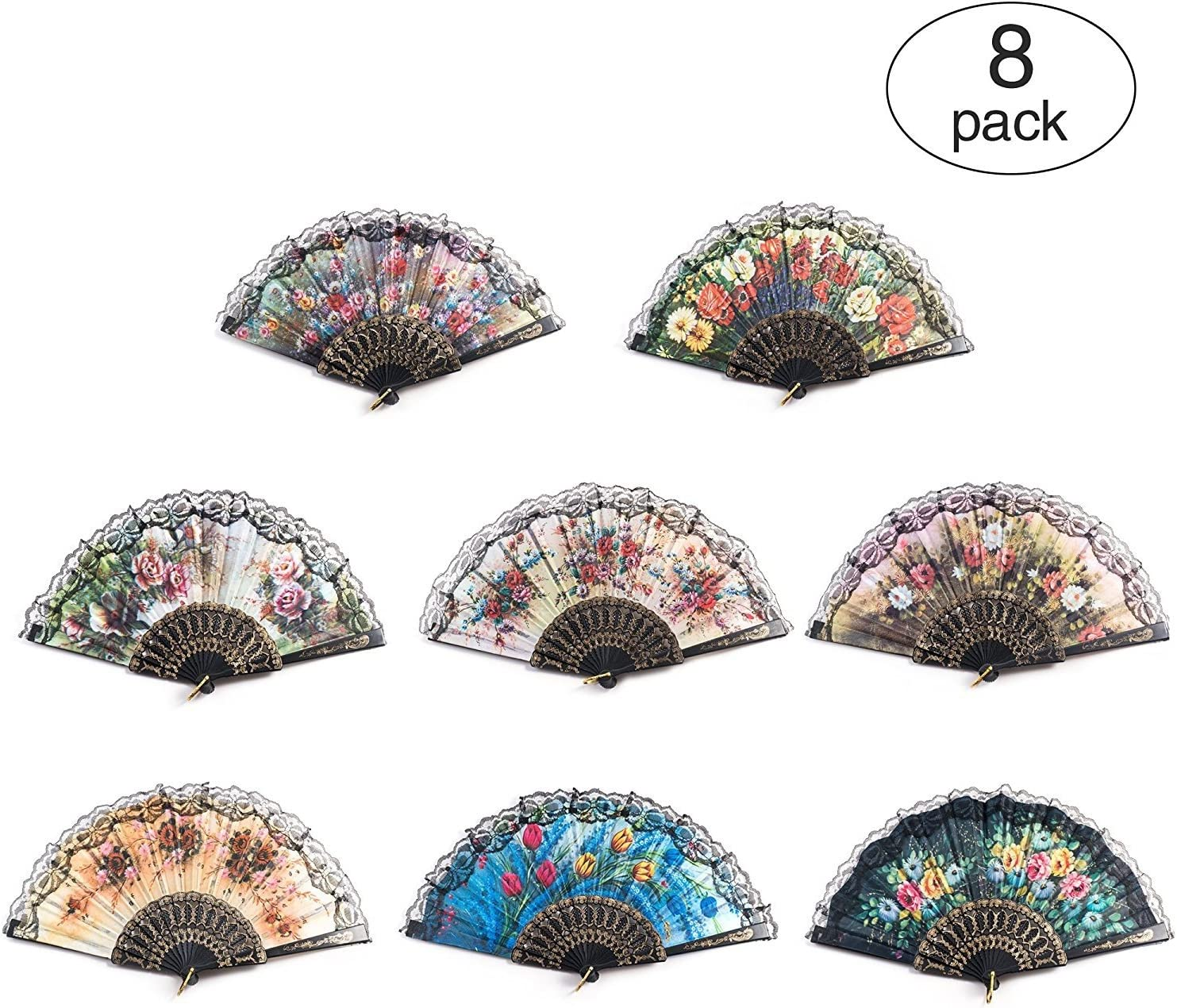 Huihuiyang 8 PCS Spanish Floral Folding Hand Fan Vintage Retro Pattern Fabric Fans (8 Different Patterns)