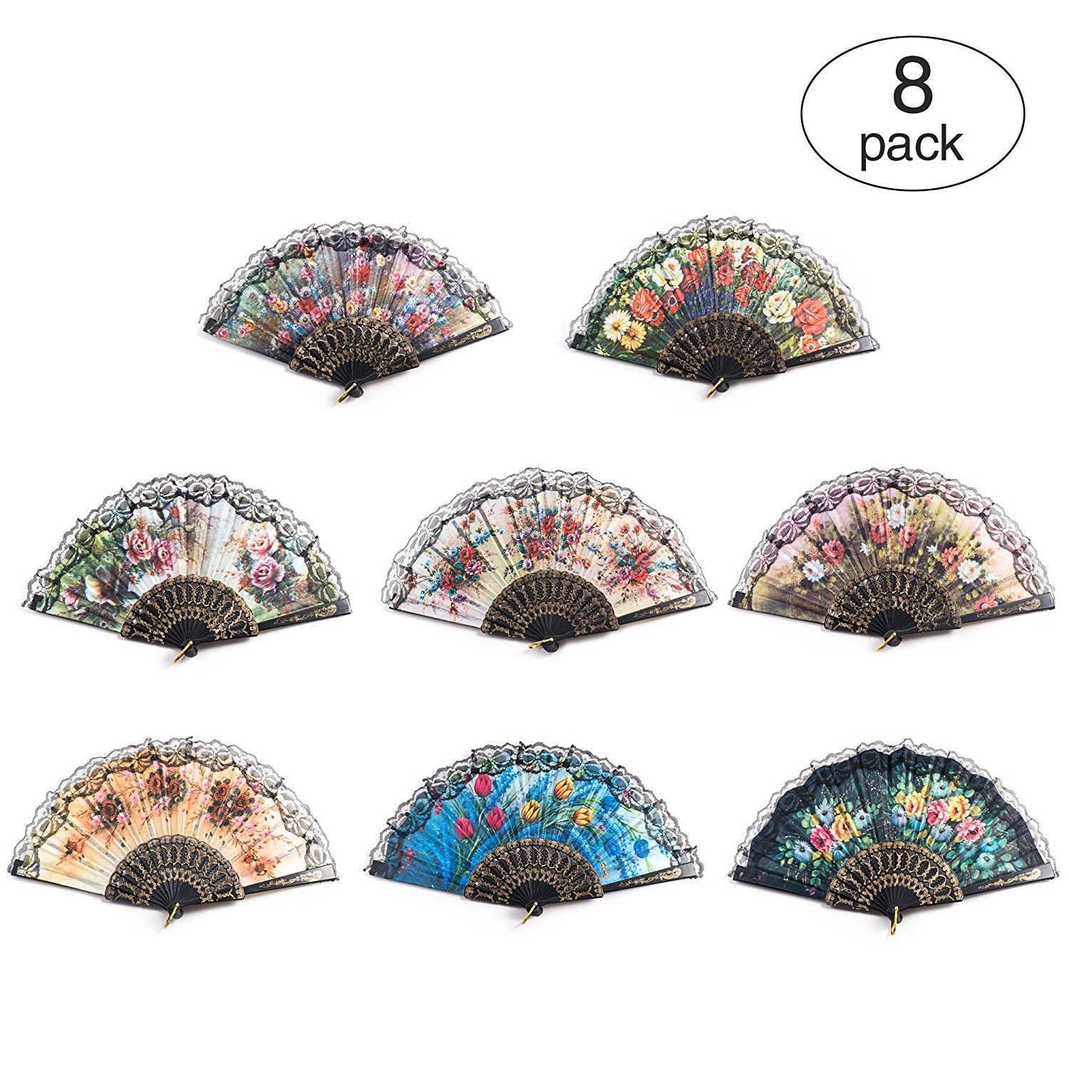 8 PCS Spanish Floral Folding Hand Fan Vintage Retro Pattern Fabric Fans ( 8 different patterns ) HUIHUIYANG