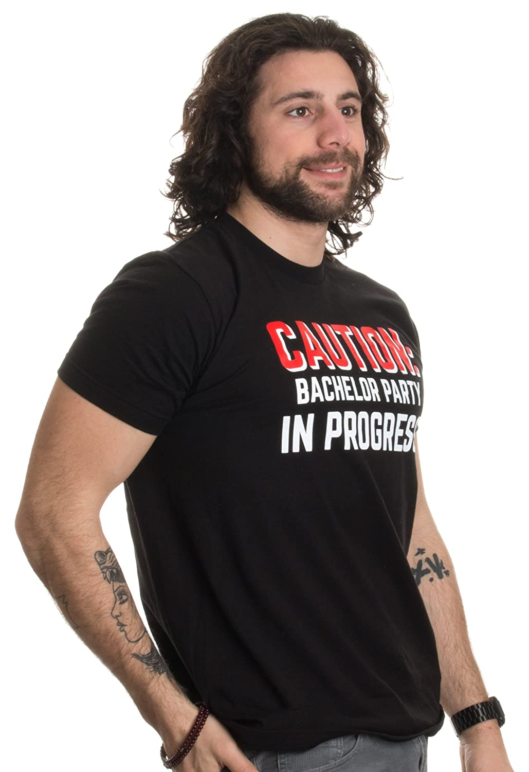 a8c4b270 Amazon.com: Caution: Bachelor Party in Progress   Stag Guys Night Out  Wedding Unisex T-Shirt: Clothing