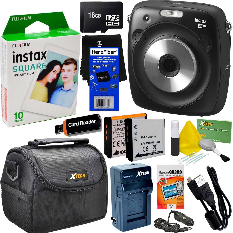 Fujifilm Instax Square SQ10 Hybrid Instant Camera + Fujifilm Instax Square Instant Film (10 Sheets) + 16GB Memory Card + Camera Case + 8pc Accessory Kit w/ HeroFiber Ultra Gentle Cleaning Cloth