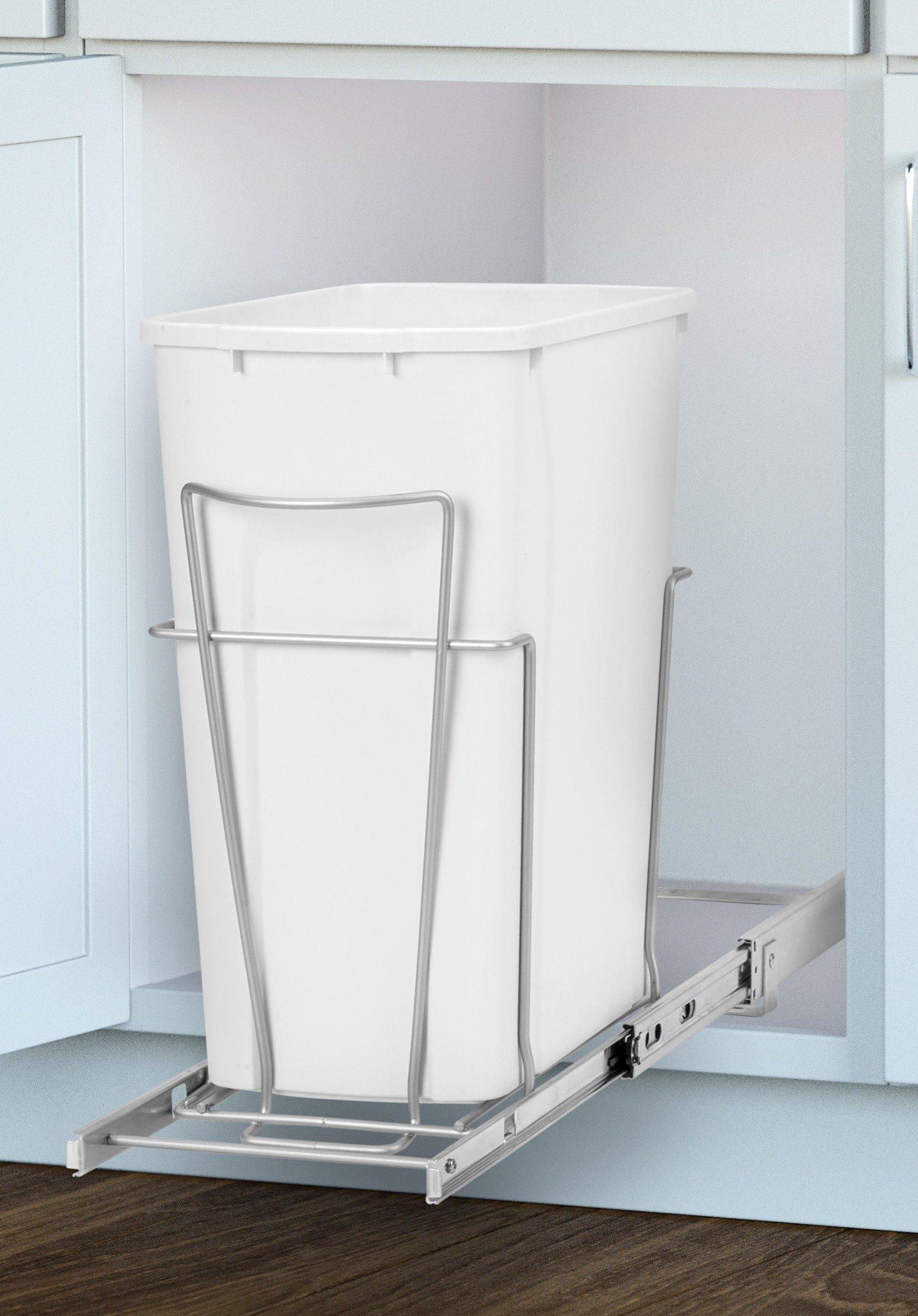 Panacea Grayline Slide-Out Single Trash Can Basket Storage, Satin Nickel