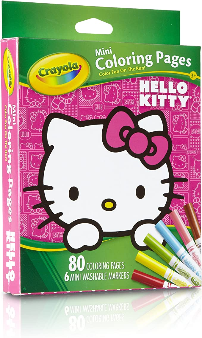 Amazon Com Crayola Hello Kitty Mini Coloring Pages Markers 86 Piece Set Art Gift For Kids 3 Up Washable Non Toxic Markers Mini Coloring Book Pages Feature Favorite Hello Kitty Characters Great