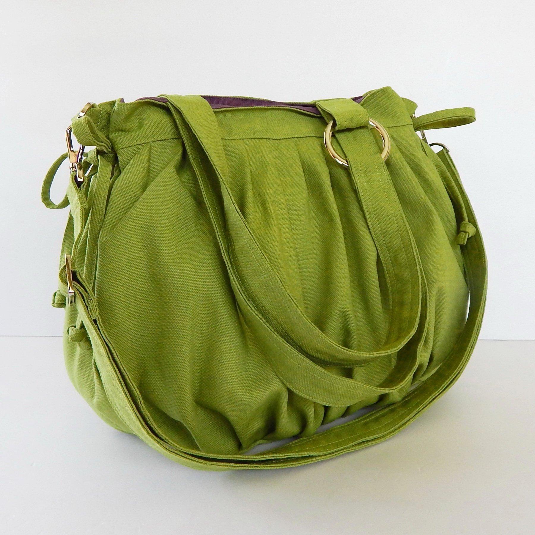 Virine canvas pleats bag, purse, tote, shoulder bag, everyday bag, travel bag, cross body, women (11''long x 11.5''tall) pear green color