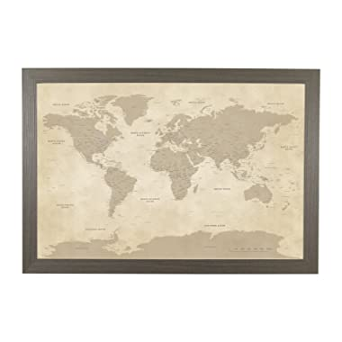 Push Pin Travel Maps Vintage World with Barnwood Gray Frame and Pins 24 x 36