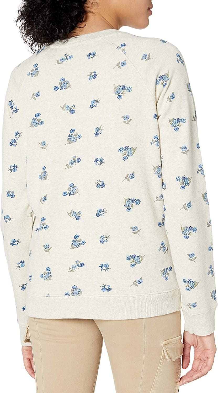 Lucky Brand Damen Allover Embroidered Crew Neck Sweatshirt Hellbeige