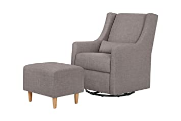 Charming Babyletto Toco Swivel Glider And Stationary Ottoman, Grey Tweed