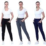 C Crush - Pack de 3 pantalones de yoga para mujer, forro polar ultrasuave, con bolsillos y cintura con cordón