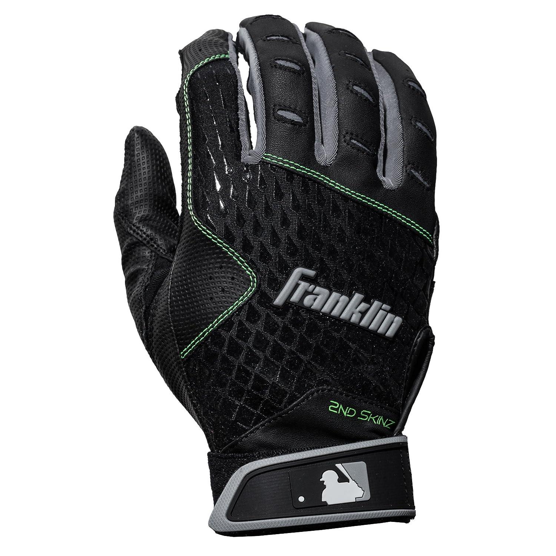 Franklinスポーツ2 nd-skinzバッティング手袋 B075NYMXPL Adult Large|ブラック ブラック Adult Large