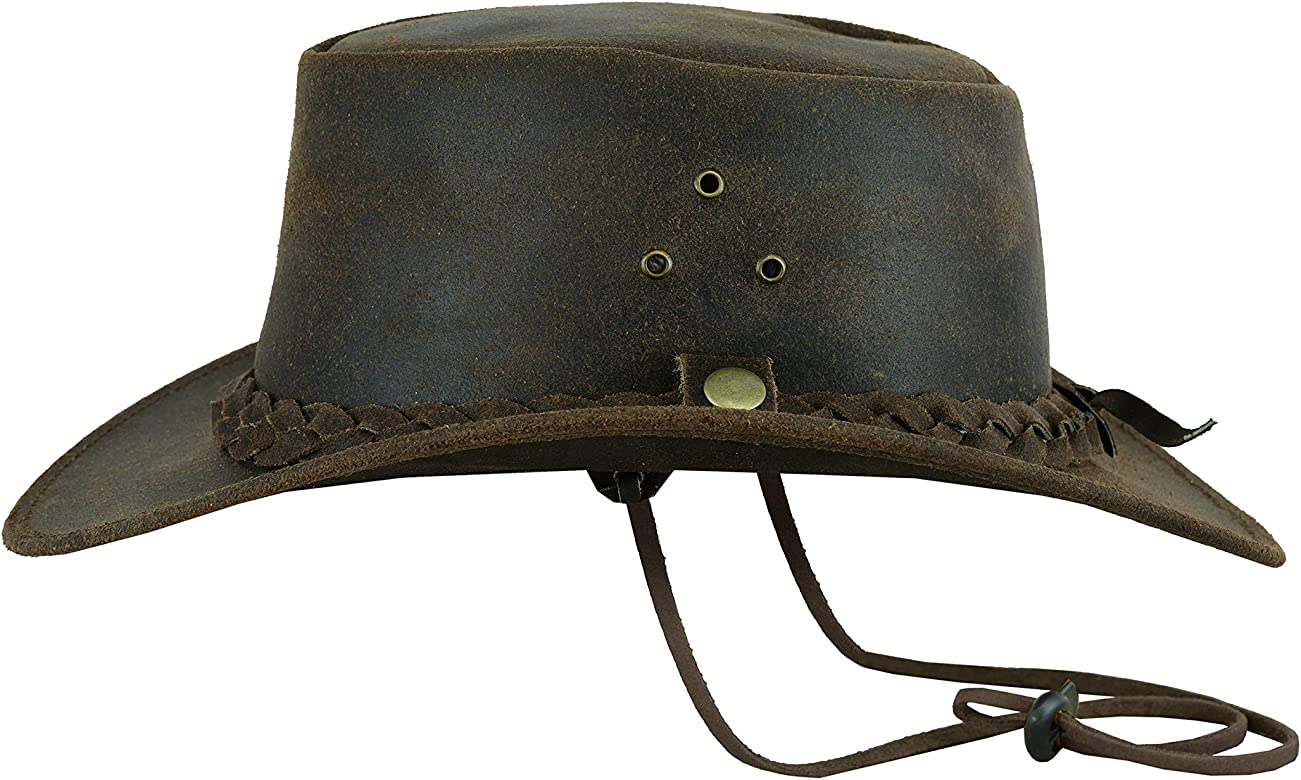 Western Aussie Style Real Crazy Horse Leather Cowboy Hat with Chin Strap Light Brown