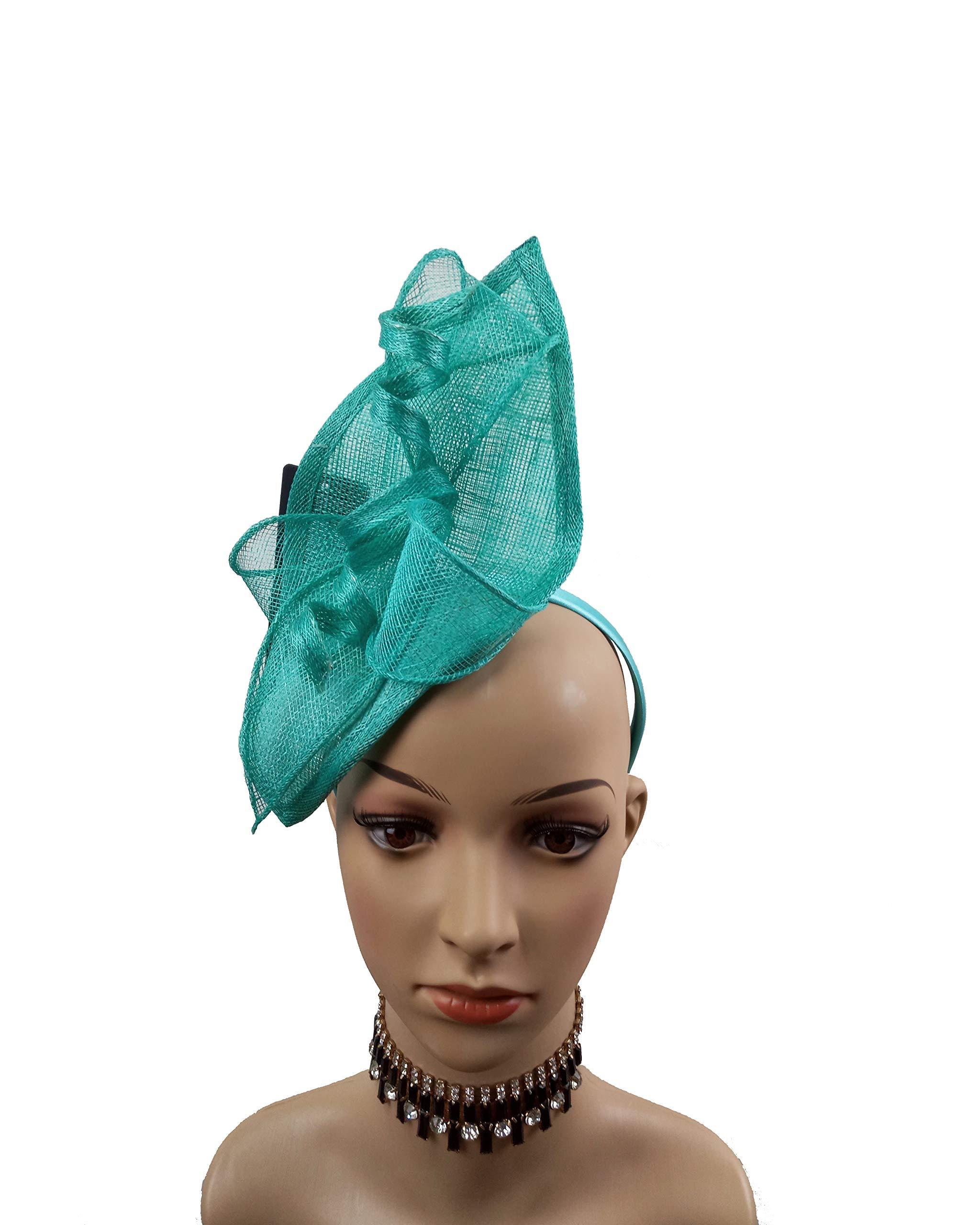Sinamay Teardrop Fascinators Headband Hats Derby Racing Hat (Turquoise)