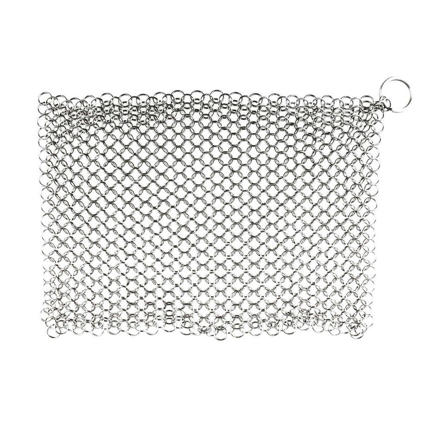 LOVINASTORE - Stainless Steel Cast Iron Cleaner Chainmail Scrubber Home Cookware Kitchen Tool, 8''(L) x 6''(W)