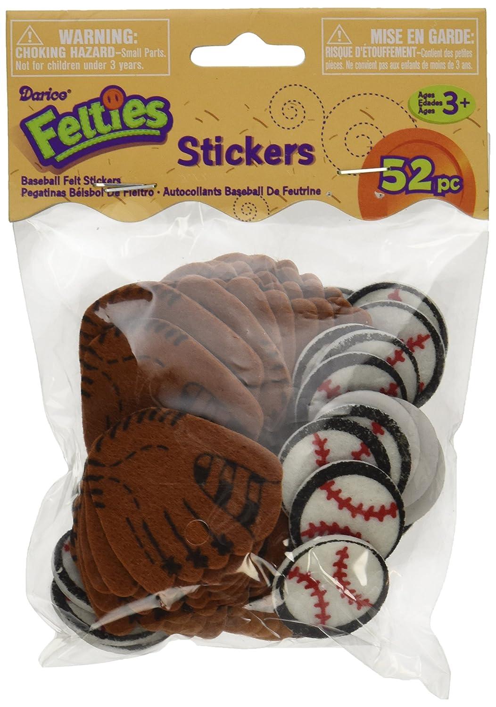 Darice FLT-1021 52Piece Felties Felt Stickers Baseball Theme 442448