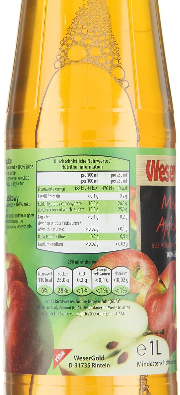 Wesergold Milder Apfelsaft PET, 6er Pack (6 x 1 l): Amazon.de ...