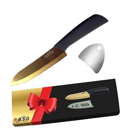 Ceramic Blade Chef Knife Ultra Sharp  Inch Gold Professional Kitchen Knife Set