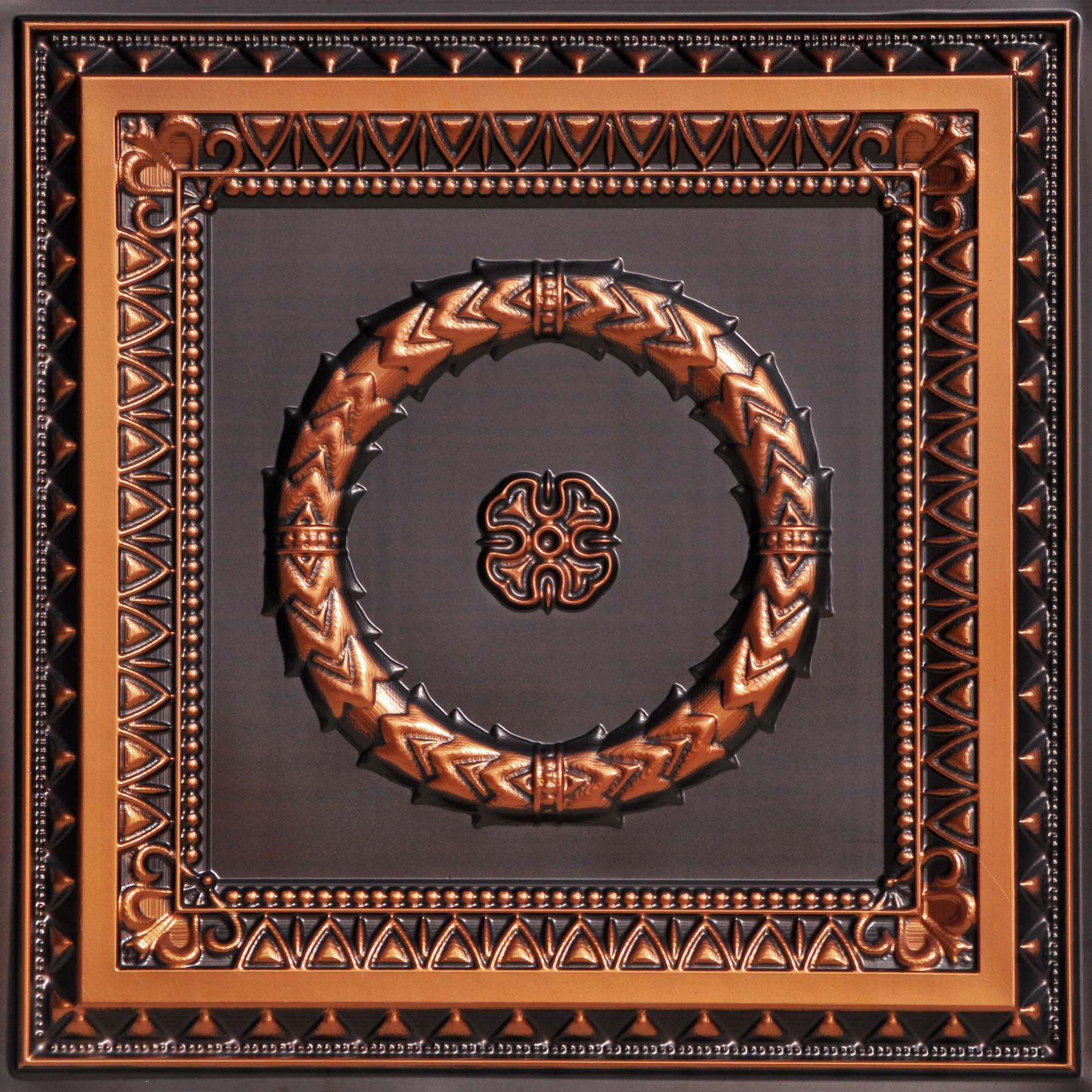 Laurel Wreath-Faux Tin Ceiling Tile - Antique Copper 25-Pack by From Plain To Beautiful In Hours