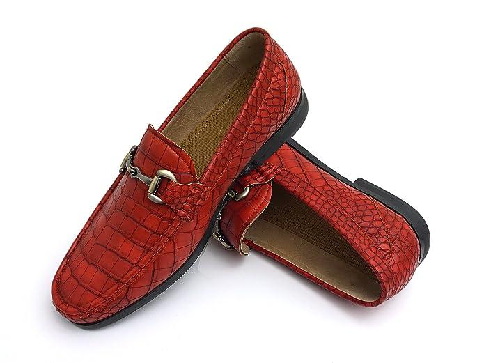 86051b15d Easy Strider EasyStrider Men s Loafer Shoes - Premium Genuine Alligator  Leather - Elegant Silver Metal Buckle - Perfect Business Dress Shoe for Men  or ...