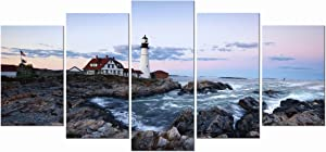Wieco Art Portland Lighthouse 5 Panels Modern Canvas Prints Artwork Seascape Pictures to Photo Paintings on Stretched and Framed Canvas Wall Art Décor for Living Room Bedroom Home Decorations