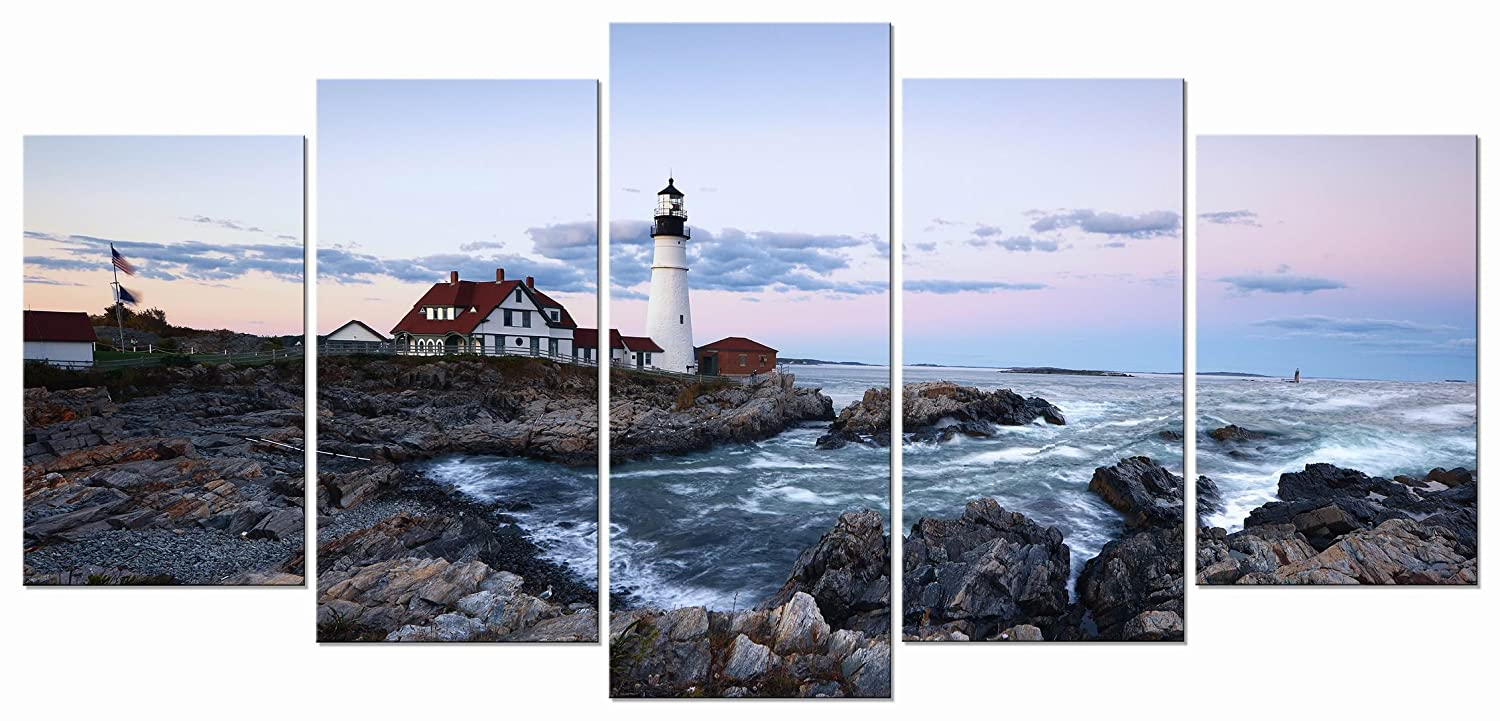 Amazon com wieco art portland lighthouse 5 panels modern canvas prints artwork seascape pictures to photo paintings on stretched and framed canvas wall art