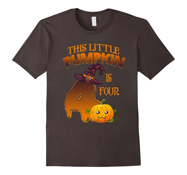 4 years old 4th Birthday Tshirt - Halloween Little Pumpkin-TJ