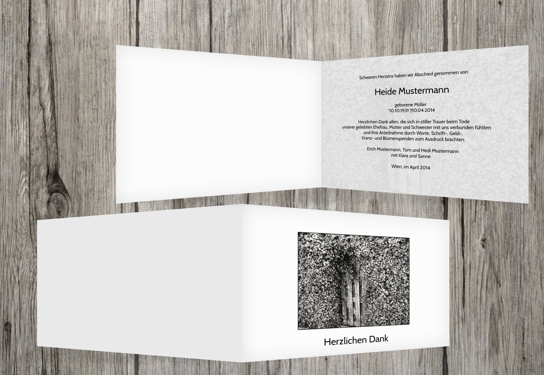 Tarjetas de agradecimiento luto Hiedra para puerta, Weiszlig;, 50 Karten