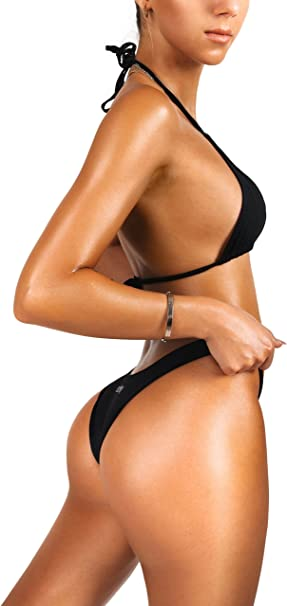 sofsy Bikini Swimsuit Bathing Suit Two Piece Swimwear Tie Top or High Cut Bottoms