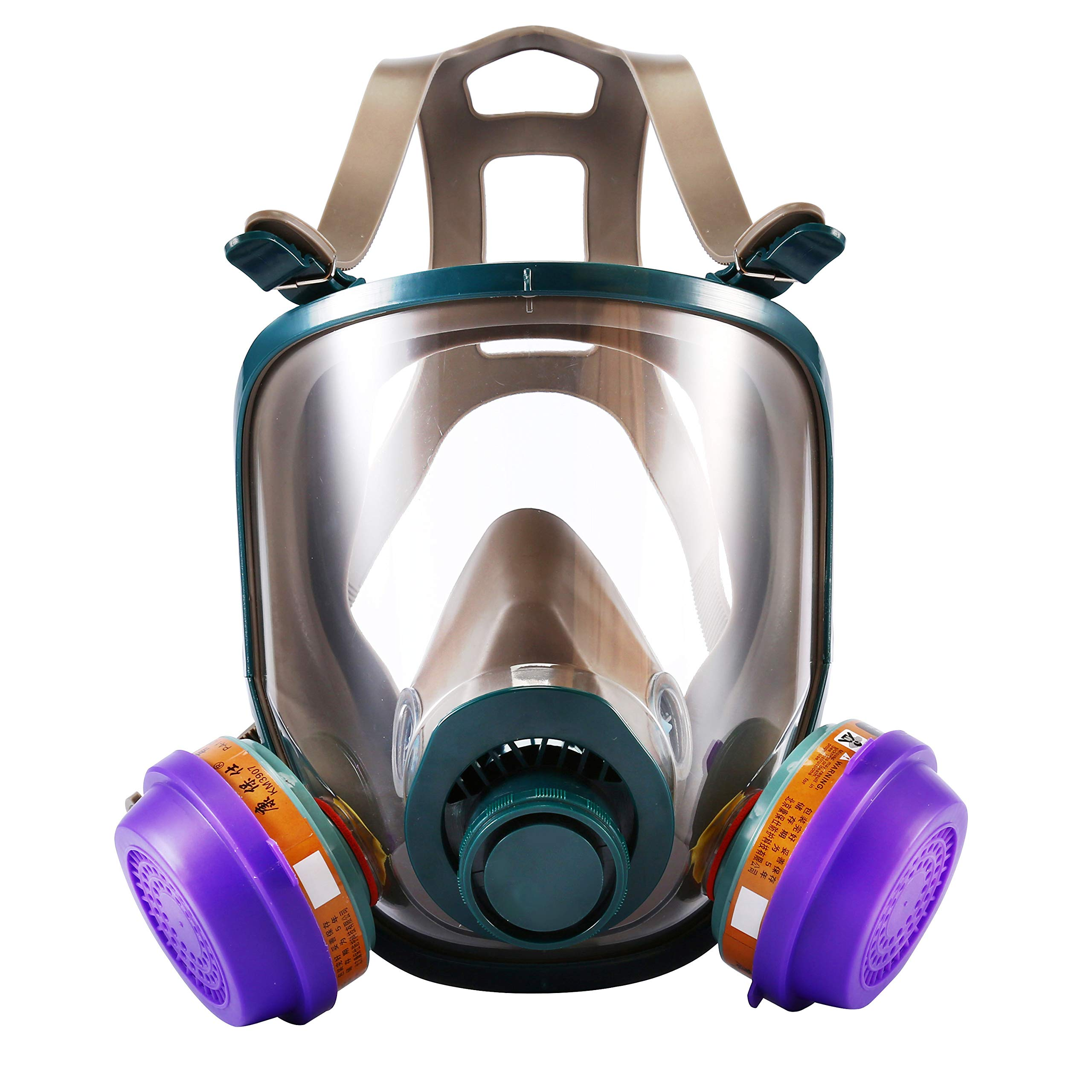 Holulo Full Face Respirator with Filter Cartridge Protection Industrial Grade Quality Organic Vapor Respiratory Protection Safety Mask(Honeycomb filter Mask)