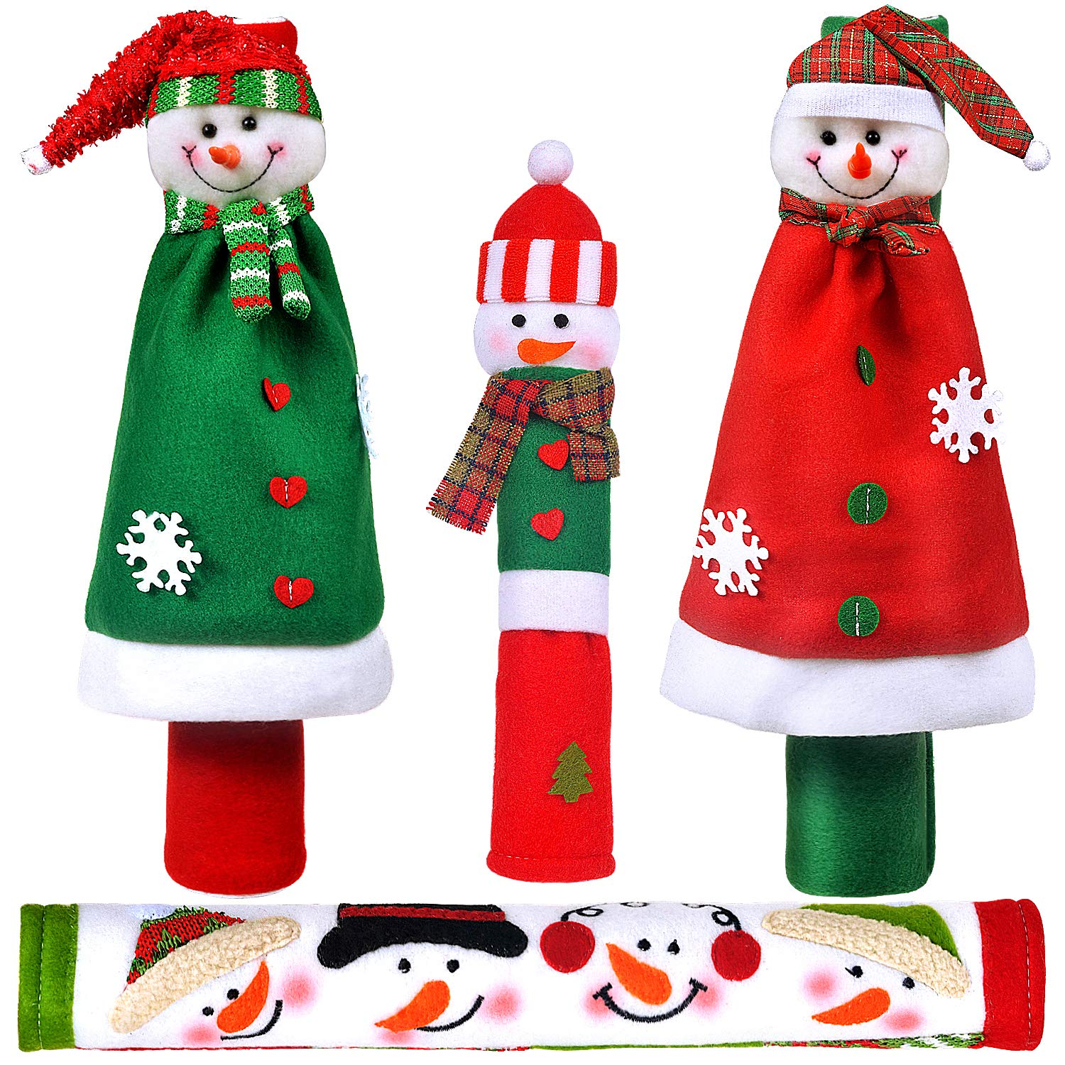 OUGAR8 Adorable Snowman Refrigerator Handle Covers Set | Cute &Practical Fridge Door Covers| Protective Kitchen Appliance Covers |Perfect Christmas Decorations Idea (3-Cloak)