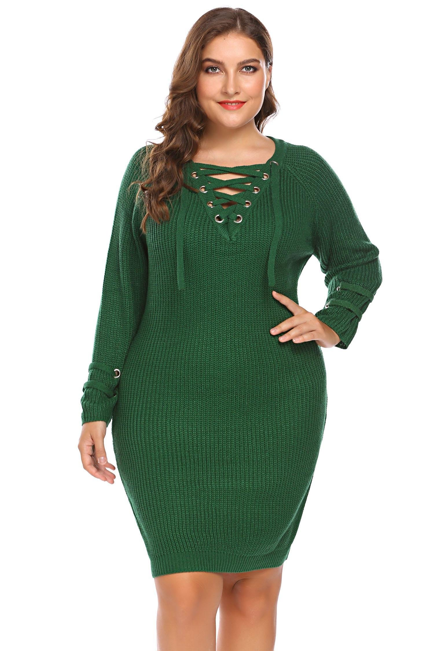Zeagoo Womens Plus Size Lace Up V-Neck Sweater Dress Long Sleeve Knit Pullover Dress,18 Plus,Army Army Green