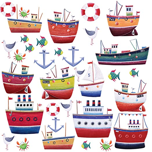 RoomMates Repositionable Childrens Wall Stickers Ship Shape Part 51