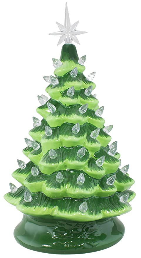 christmas is forever 16 green ceramic christmas tree with white lights - Green Ceramic Christmas Tree With Lights