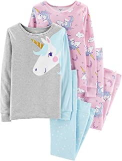 Carters Girls Pajamas PJs 4pc Cotton Snug Unicorn Set