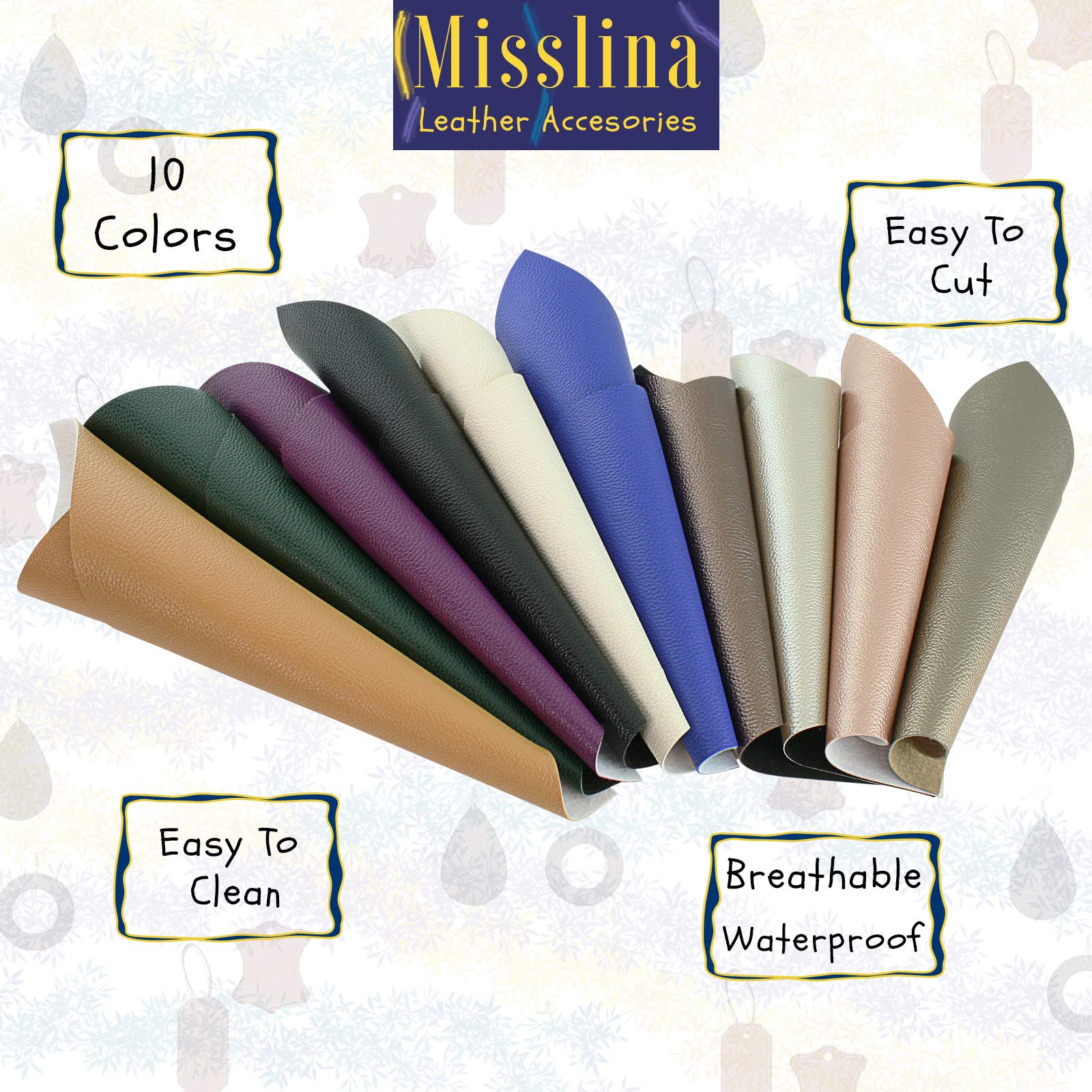 Faux Leather Sheets for Leathercraft Accesories with Cotton Fabric Back- 8'' x 13''(20 x 34 cm) Pack of 10 Faux Leather for Earring Making, Ribbon Bowls Crafts Making- 10 Colours of Faux Leather Sheets by MissLina Faux Leather Accesories (Image #3)