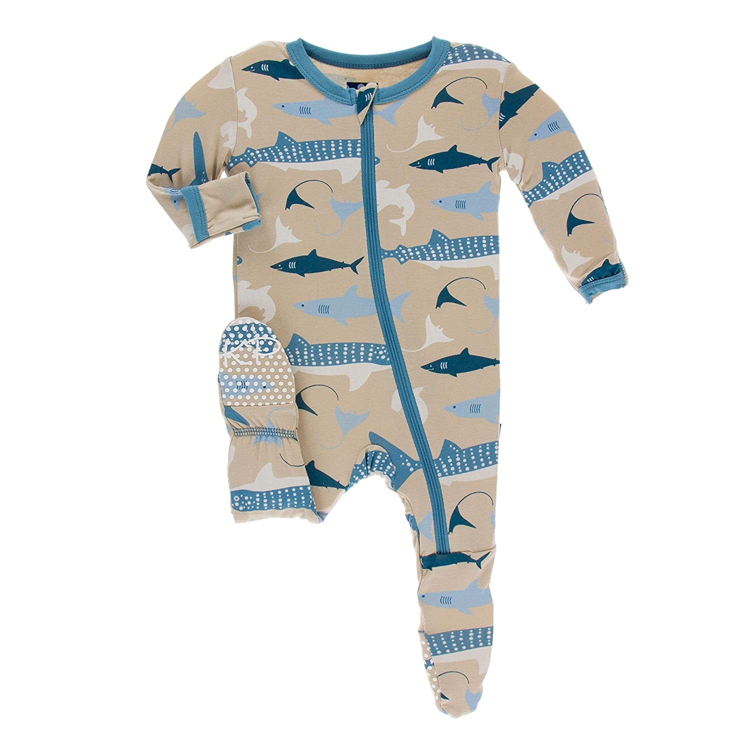 KicKee Pants Print Footie with Zipper (9-12 Months, Burlap Sharks)