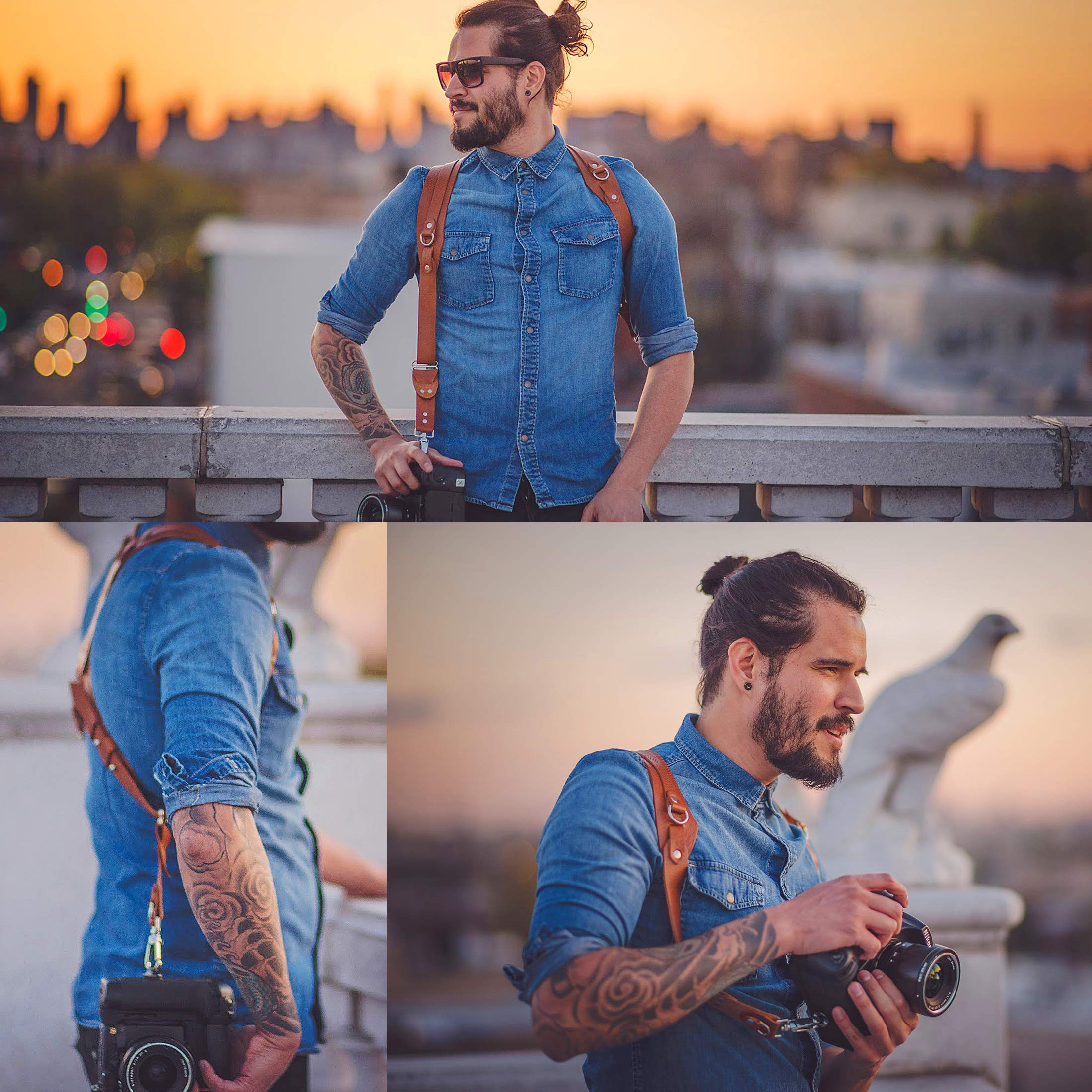 Clydesdale Pro-Dual Handmade Leather Camera Harness, Sling & Strap RL Handcrafts. DLSR, Mirrorless, Point & Shoot Made in The USA (Coffee, Small) by Republic Leather Company (Image #5)