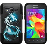 Samsung Core Prime Case, Dual Armor Fusion STRIKE Impact Kickstand Case with Unique Designs for Samsung Galaxy Core Prime G360, Samsung Galaxy Prevail LTE (Verizon, Sprint, Boost Mobile) from MINITURTLE | Includes Clear Screen Protector and Stylus Pen - White Dragon