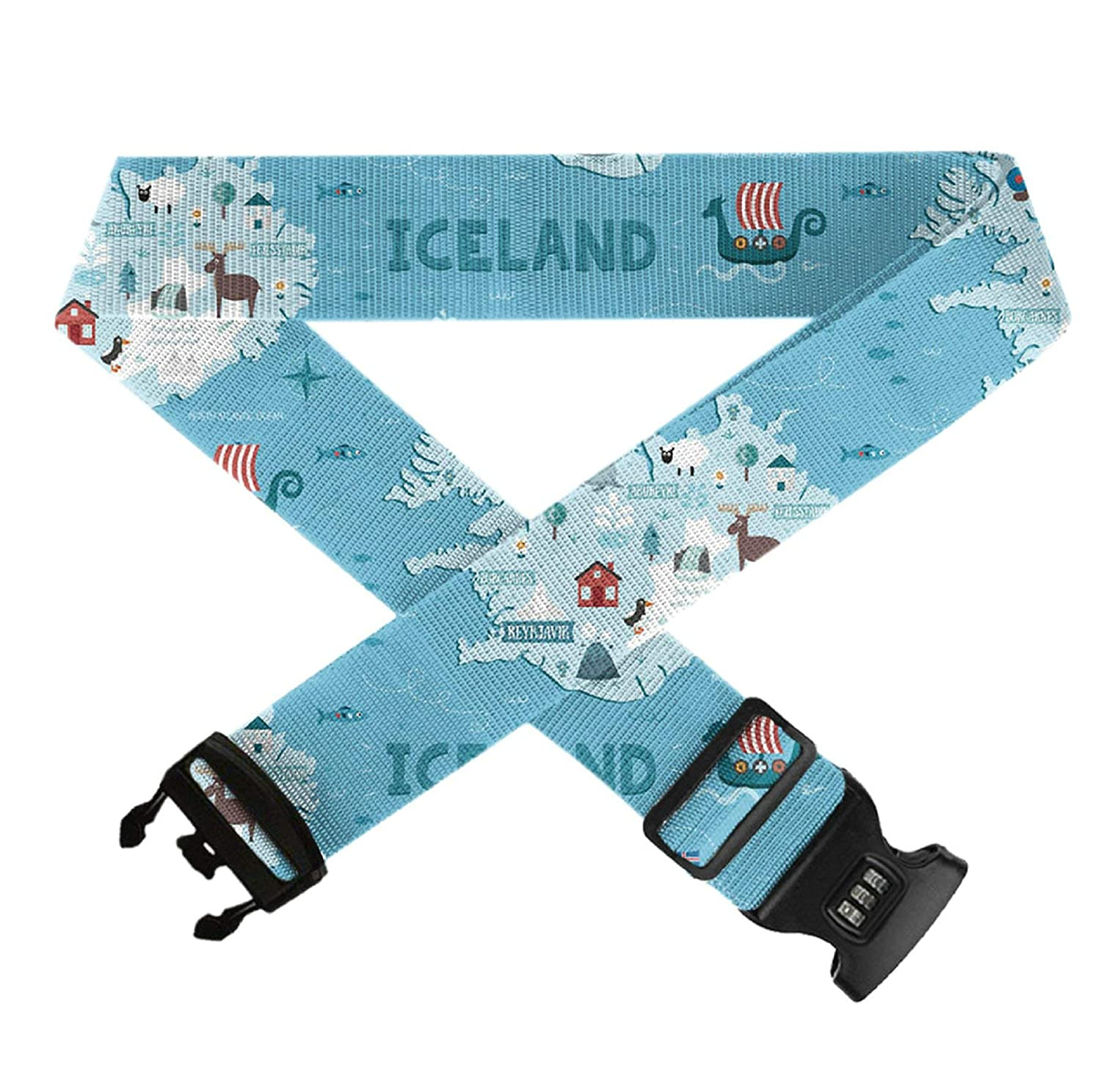 Adjustable Add-A-Bag Luggage Strap,1 PC Baggage Suitcase Straps Belts TSA Approved Lock GLORY ART Iceland Map Travel Accessories