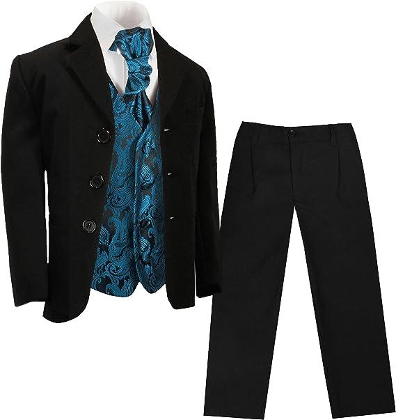 Paul Malone Jungen AnzugKinder Anzug festlich schwarz + Petrol Paisley Hochzeit Weste + Plastron