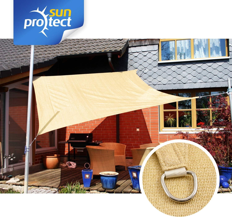 Quadrat sunprotect 83491 Professional Sonnensegel beige Wind- /& wasserdurchl/ässig 2 x 2 m