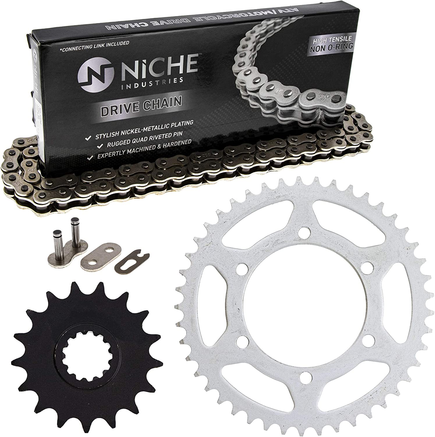 NICHE Drive Sprocket Chain Combo for Yamaha YZF R1 Front 17 Rear 47 Tooth 530V O-Ring 120 Links