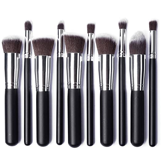 synthetic hair brushes. kabuki professional make up brush set with synthetic hair (angled, round, flat, brushes o
