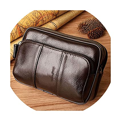 Men Genuine Leather Multifunction Small Waist Pack Pouch Messenger Shoulder Bag