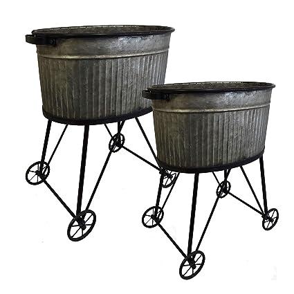 Amazon Com Galvanized Metal Wash Tub Set Of Two Vintage