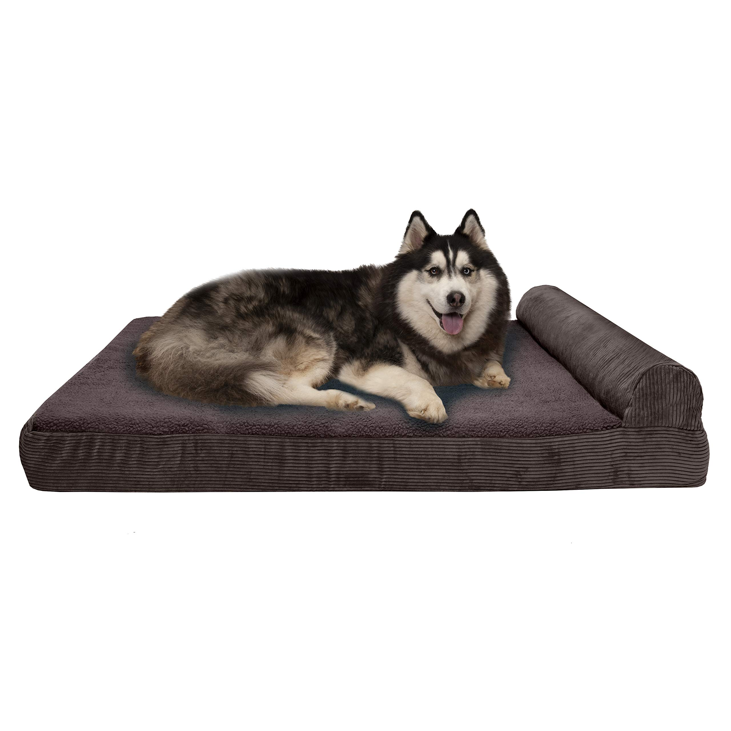 Furhaven Pet Dog Bed | Deluxe Cooling Gel Memory Foam Faux Fleece & Corduroy Chaise Lounge Living Room Couch Pet Bed w/ Removable Cover for Dogs & Cats, Dark Espresso, Jumbo Plus by Furhaven