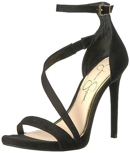 dfa18c4abc6c Jessica Simpson Women s Rayli Heeled Sandal Black Microsuede 8 Medium US