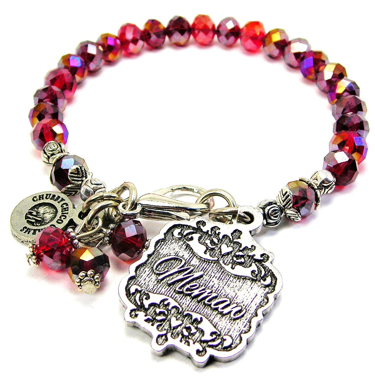 Chubby Chico Charms Memaw Victorian Scroll Splash of Color Bracelet in Crimson Red