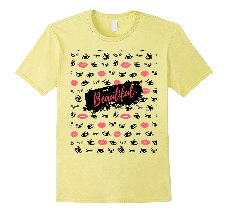 Beautiful Pink Lips Eyes Fashion T-Shirt Women-TH