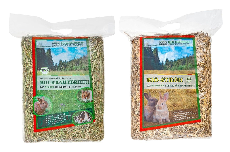 Heu-Heinrich 3 x 1kg Bio - Bergwiesen - Kräuterheu ++ 3 x 1kg Bio - Stroh aus dem Naturpark Thüringer Wald