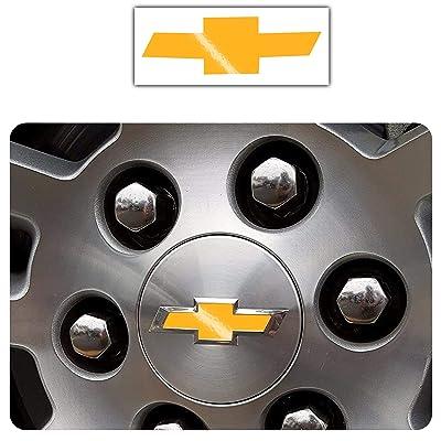 Bogar Tech Designs - Pre Cut Center Wheel Cap Vinyl Decal Sticker Compatible with Chevy Silverado 2020, Gloss Yellow: Automotive