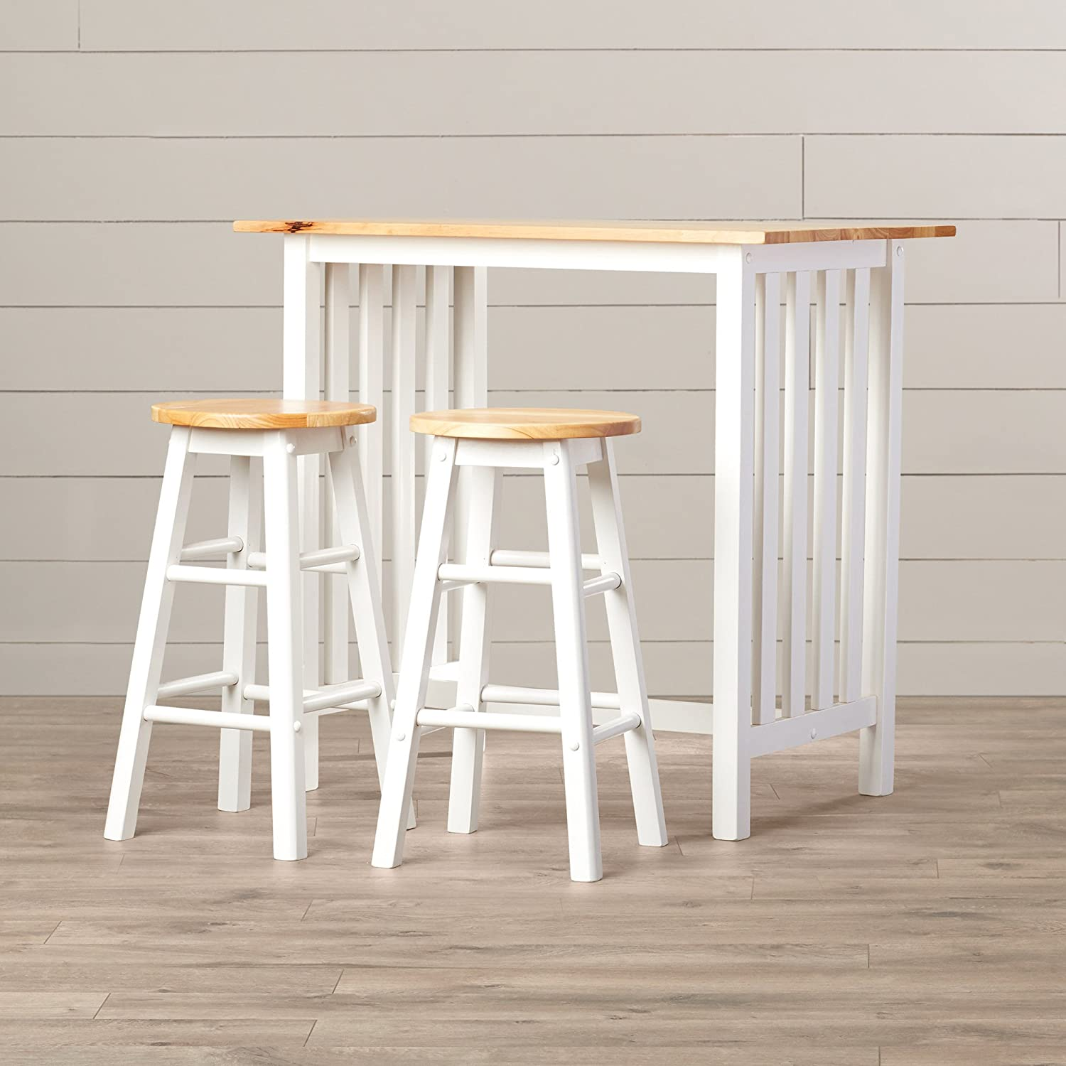 Counter Height Table Set - 3 Piece Home Pub or Breakfast Furniture - Table And 2 Chairs - Quality Furniture - White With Natural Birch Wood Top